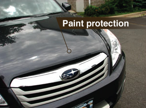 Photo of a hood with paint protection applied